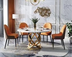 design rund ess zimmer stuhl set metall tische sessel 4x stühle tisch garnitur