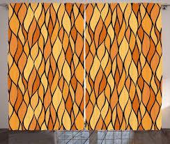 gardine schlafzimmer kräuselband vorhang mit schlaufen und haken abakuhaus gelb braun abstrakte mosaik waves kaufen otto