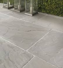 Salcombe Sandstone In A Seasoned Finish Patio Tiles With Soft Pale And Grey Tones