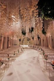Extravagant White Indoor Wedding Ceremony Reception Decor