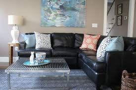 living room with black leather sectional centerfieldbar com