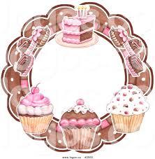 Royalty Free Vector of Cupcakes Truffles and Cake Circular Bakery Logo