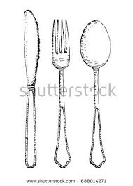 Fork spoon and knife vector set Cutlery hand drawing illustration