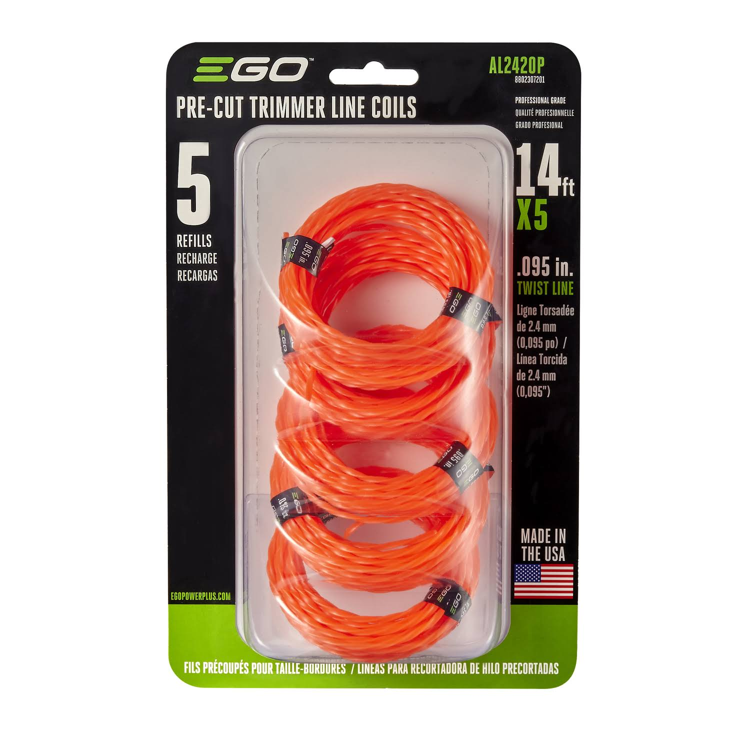 EGO AL2420P Pre-Cut Twisted Trimmer Line - 5pk, 0.095""