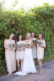 Taupe Mix And Match Bridesmaids With Green White Brown Bouquets Rustic South