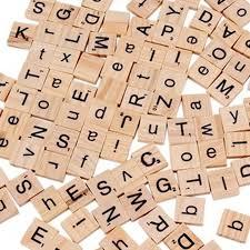 100pcs wooden alphabet scrabble tiles mixed black letters numbers