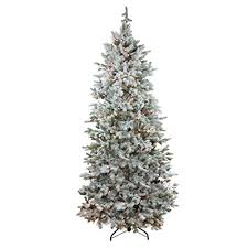 Northlight Pre Lit Flocked Slim Colorado Spruce Artificial Christmas Tree With Clear Lights 75