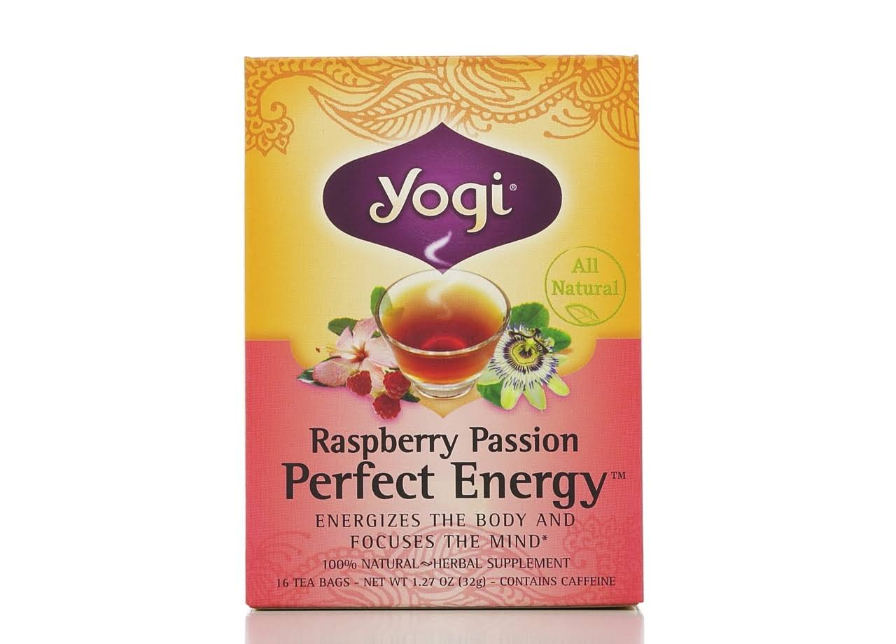 Yogi Perfect Energy Tea - Raspberry Passion, 1.27oz, 16 Tea Bags