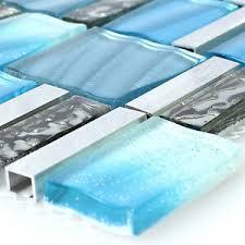 glas aluminium metall mosaik fliesen prag blau silber mix
