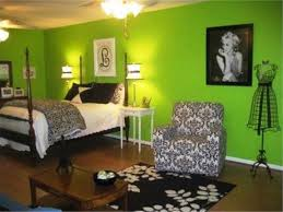 Cheerful Bedroom Ideas For Teenage Girls With Green Colors Theme And Black White Furniture Decoration