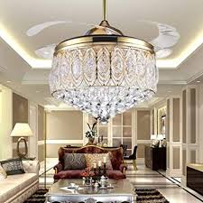 RS Lighting Simple Modern Artistic 42 Inch Crystal Ceiling Fan Light Kit With Remote Control