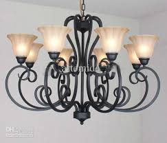 rustic traditional black wrought iron chandelier dining room