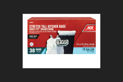 Ace White Stretch Tall Kitchen Bag - 13 Gal
