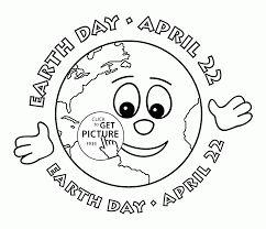 Earth Cute Face Day April Coloring Page For Kids Pages Printables Free