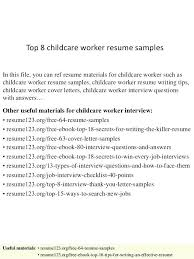 Child Care Resume Sample Combined With Resumes Top 8 Childcare Worker Samples In
