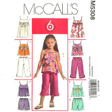 Girls Empire Dress Or Top Shorts Capris Pattern McCalls 5308 Etsy