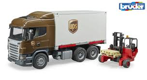 Scania R-Series UPS Truck With Forklift Bruder 03581 Scale 1:16 NEW ...