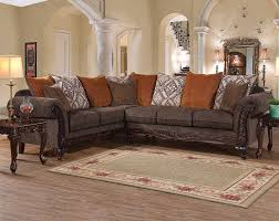 The Gunslinger Bark Two Piece Sectional Sofa Is Right On Trend With Rustic Style Faux Wood Intricate Details And Deep Comfortable Seats