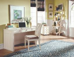 Rustic Style Small Home Office Design With Light Green Painted Wall Interior Color Decor Brown Wooden Floor Tiles And White Furniture Like Desk