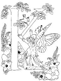 Alphabet Fairy Letter K Love To Hear Bird Singing Coloring Pages