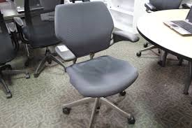 Used Humanscale Freedom Chair by Humanscale Freedom Cobalt Grey Fully Adjustable Ergonomic Mid Back