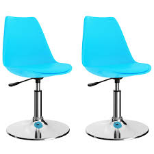 drehbare esszimmerstühle 2 stk blau kunstleder
