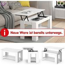 vicco couchtisch lorenz höhenverstellbar weiß sofatisch kaffetisch wohnzimmer tisch