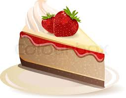 Strawberry cake on plate isolated on white background Stock Vector