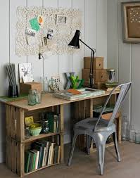 Rustic Crate Desk This Desks Sturdy Supports Are Stacked Crates Which Double As Open Shelving An Important Feature For Any