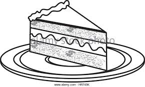silhouette dish with piece of cake with cream Stock Image
