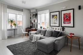 Living Room Captivating With Grey Bed Sofa And White