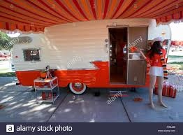 Exterior View Of 1960 Orange And White Shasta Trailer At Vintage Trailers Campers The 4th Annual Bash Flying Flag RV Resort