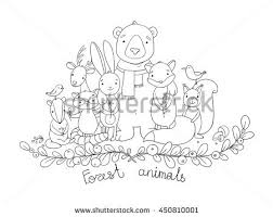 Forest Animals Hand Drawing Isolated Objects On White Background Coloring Book