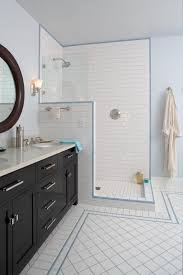 subway tile shower bathroom traditional with door handles blue wall
