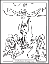 Print Children Praying Coloring Page
