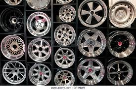 Automobile Wheels On Display At A Dealership