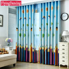 rideau pour chambre enfant bleu coloré crayons enfants rideaux bébé chambre rideaux pour