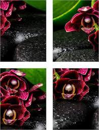 fliesen aufkleber orchideen steine wellness spa rot schwarz