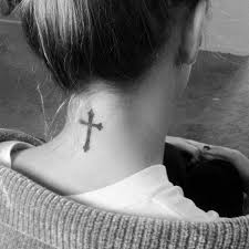 Simple Cross Tattoo On Back Of Neck