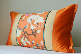 Decorative Lumbar Throw Pillows by New Orange Floral Patchwork Pillow Cover Bright Orange Discovered
