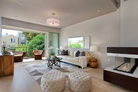 contemporary living room with laminate floors coffee table