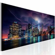 details zu new york skyline stadt nacht wandbilder bilder vlies leinwand d b 0155 b a
