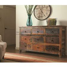 Best Accent Chests For Living Room Rustic Acacia And Teak 9 Drawer Cabinet 950365