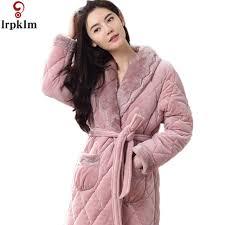 robe de chambre le hiver femmes chemises de nuit chaud peignoir de nuit kimono robe