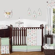 grey coral and mint woodland arrow 11 piece girls crib bed