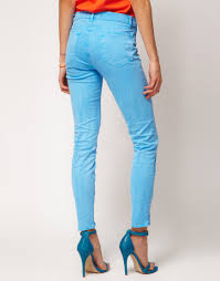 j brand j brand 811 mid rise ankle skinny jeans in neon blue in