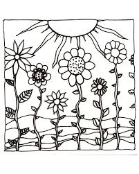 Download PrintableAdult Coloring Page Digital Hand Drawn Papers By Me Printables Sun Sunset Flowers Hills