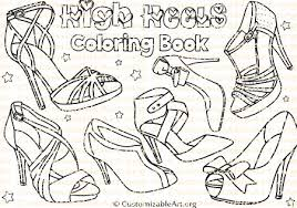 High Heel Shoes Coloring Book Womens Heels Pages Sheets Printable Shoe Fashion Digital Download PDF