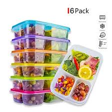 Bento Lunch Box Meal Prep Containers Reusable 3 Compartment Easy Open Safe Plastic Divided Food