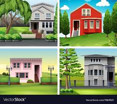 100 Four Houses Scenes Of Houses And Lawn Royalty Free Vector Image